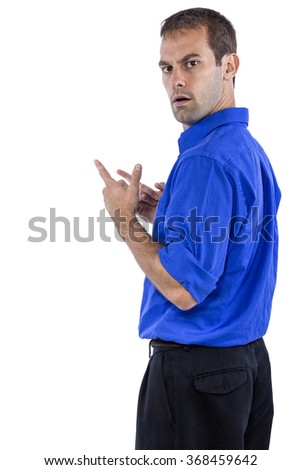 Young businessman in blue collar shirt isolated on a white background. The man looks upset at something. - stock photo