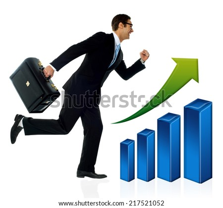 Young businessman in process of achieving growth. - stock photo