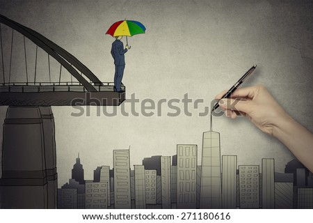 Young businessman in suit with umbrella on the edge of bridge looking on cityscape    - stock photo