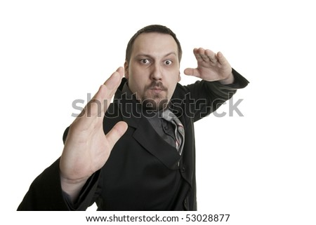 young businessman in the fight for reputation - stock photo