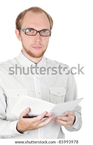 young businessman in white shirt and glasses with notebook isolated