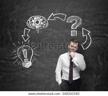 Young businessman is thinking about business concept - stock photo