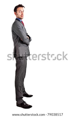Young businessman isolated on white, full length - stock photo