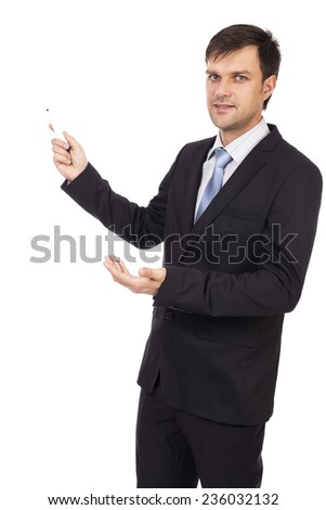 Young businessman making a presentation isolated on white background - stock photo
