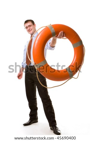 Young  businessman offering a life buoy - stock photo