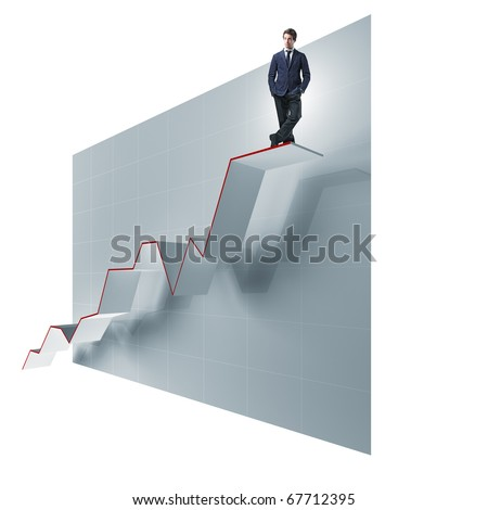 young businessman over 3d growing way - stock photo