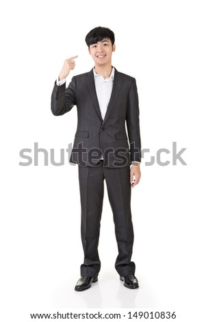 Young businessman point himself, full length portrait isolated on white background. - stock photo