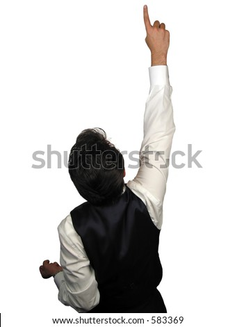 Young businessman pointing with his finger expressing success
