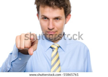 young businessman points to You, studio shoot isolated on white background - stock photo