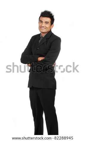 young businessman portrait isolated over white background - stock photo