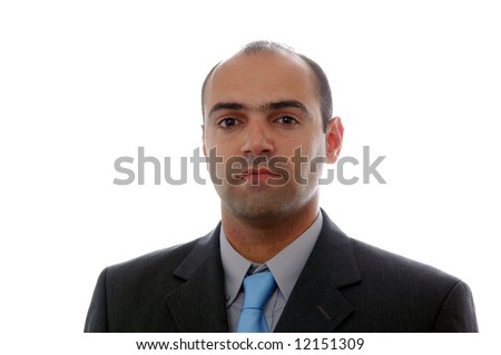 young businessman portrait over white