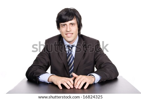 Young Businessman posing, isolated in white background
