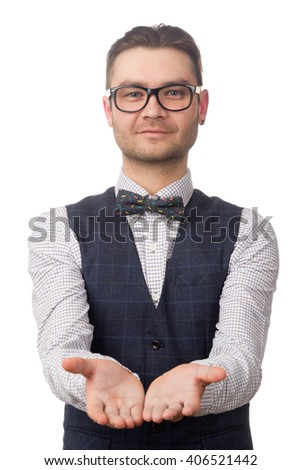 young businessman reaches out his hands isolated on white background - stock photo