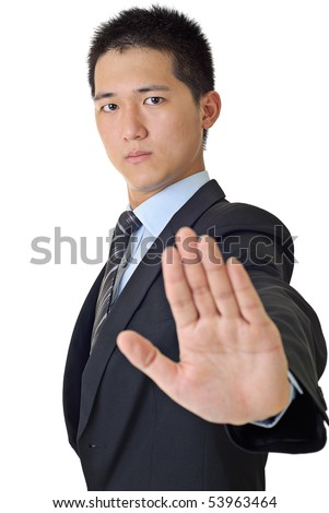 Young businessman reject gesture with confident expression on face. - stock photo