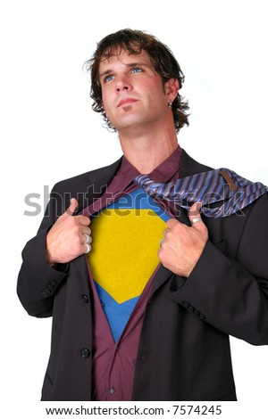 Young businessman revealing his super leader identity isolated over a white background - stock photo