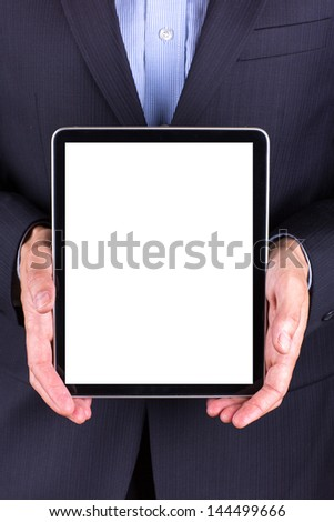 Young businessman's hands working on tablet pc isolated on white - stock photo