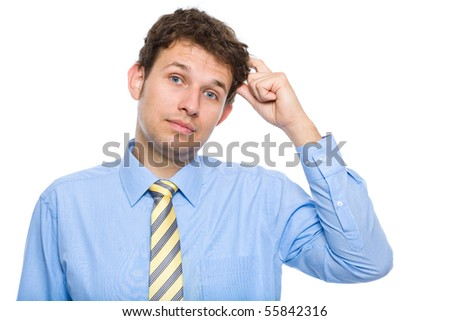 young businessman scratching his head, hard decision, studio shoot isolated on white background - stock photo