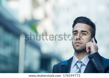 Young Businessman. Selected focus on face - stock photo