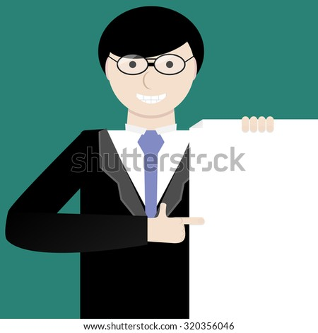 Young businessman showing a project idea. Offer cooperation contract. Presentation manager man, person worker, graphic illustration - stock photo