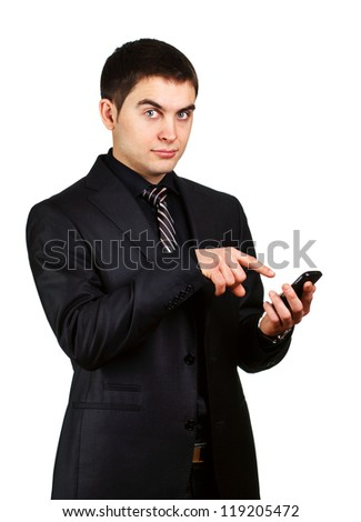 young businessman showing finger surprise to phone