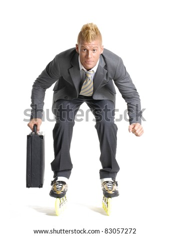 Young businessman skating on white background. - stock photo