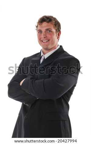 Young businessman smiling isolated on a white background