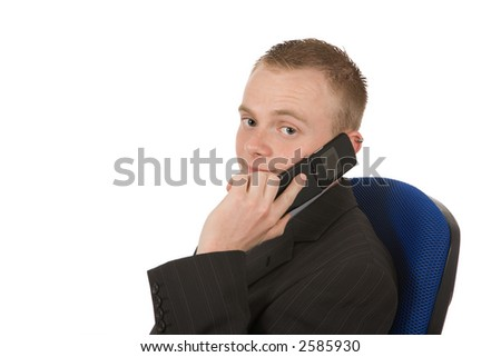 young businessman smiling on the phone