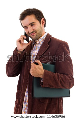 Young businessman speaking on mobile phone isolated on white background - stock photo
