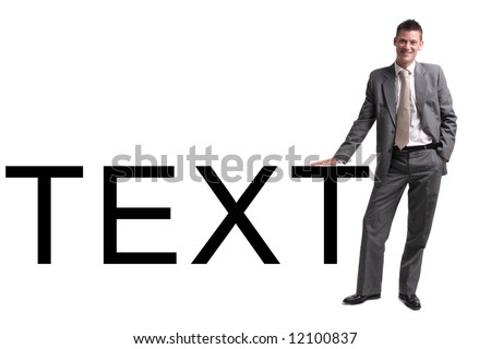 young businessman standing over white background, leaning against text. Plenty of room for copyspace or slogan - stock photo