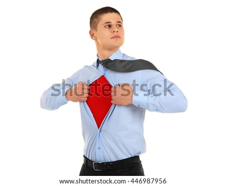 Young businessman super hero, isolated on white - stock photo