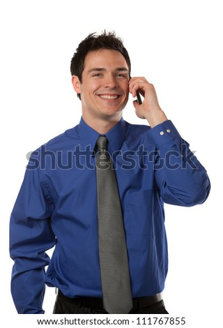 Young Businessman Talking over Cell Phone on Isolated White Background Smiling