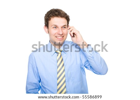 young businessman talks over the mobile phone, studio shoot isolated on white background - stock photo