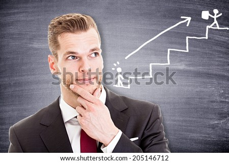 Young businessman thinking about his career  - stock photo