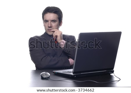 Young businessman to work in the office, in deep white... - stock photo