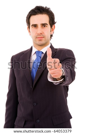 Young businessman tumbs up over a white background
