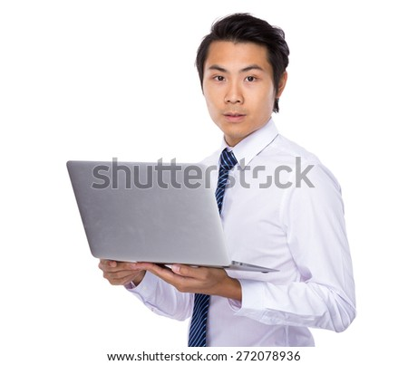 Young businessman use of notebook computer
