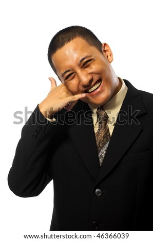 Young businessman using a call me gesture isolated on white background - stock photo