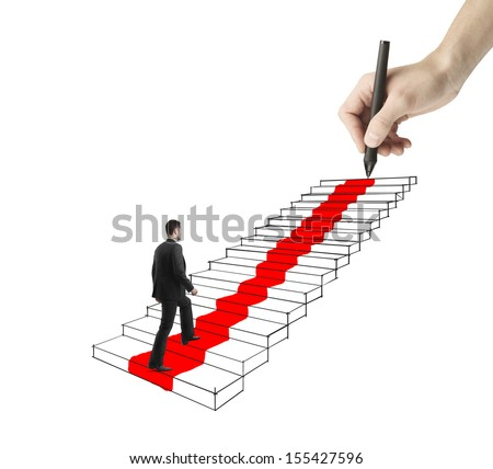 young businessman walking on drawing ladder with red carpet - stock photo