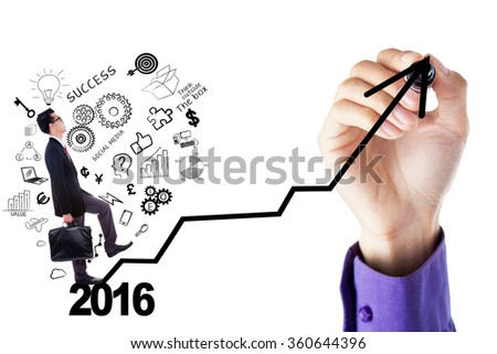 Young businessman walking on the stair shaped arrow with doodle and numbers 2016, isolated on white background - stock photo