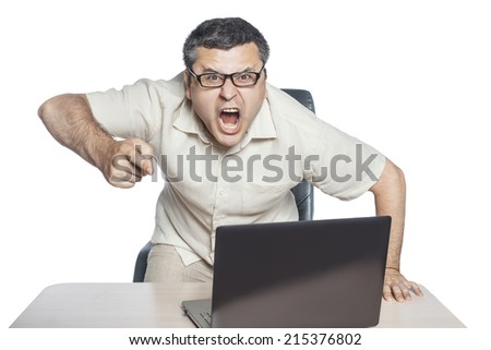 Young businessman wearing glasses in a rage shouting on an isolated white background. - stock photo