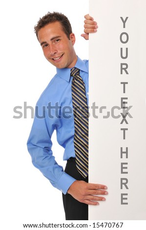 Young businessman with blank board against a white background - stock photo