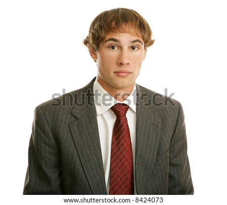 Young businessman with blank expression. Isolated on white.  (resembles Jim on The Office) - stock photo