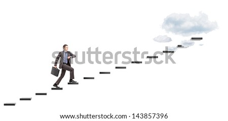 Young businessman with briefcase headings towards the heights isolated on white background