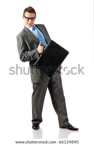 young businessman with briefcase in hand. Isolated on white - stock photo