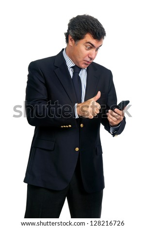 Young businessman with cellphone isolated in white