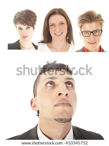 Young businessman with friends isolated on white background - stock photo