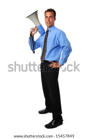 Young businessman with megaphone standing over a white background - stock photo