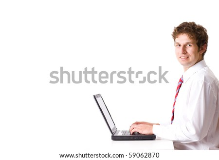 young businessman work on his laptop, studio shoot isolated on white