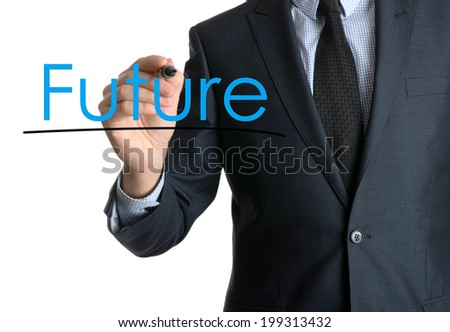 Young businessman writing Future on white background  - stock photo