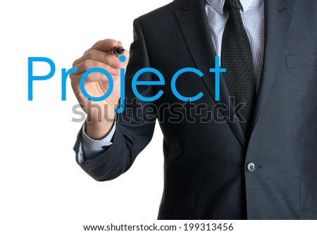 Young businessman writing Project on white background  - stock photo